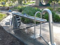 Interesting water feature, with sluice gates, rotating water wheels and a river