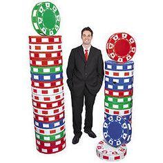 Two (2) 3D Poker Chip Columns Las Vegas Theme Party Decoration Wedding Birthday
