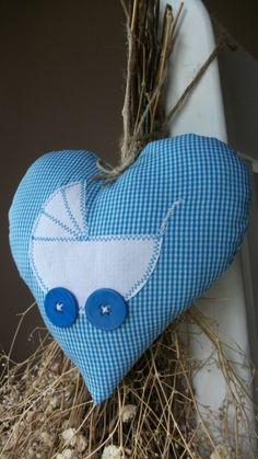 Baba köszöntő (kék) - vidéki romantika szív, Baba-mama-gyerek, Dekoráció…