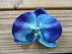 Orchid flower hair clip in BLUE  Small by itsashorething on Etsy, $4.95