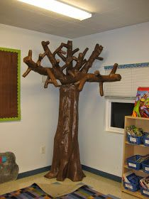 "I was going to be really clever and do a ""Flashback Friday"" post about my DIY Tree that my rock star of a husband and I built 3 years ago fo. Paper Tree Classroom, Reggio Classroom, Classroom Displays, Crafts To Do, Crafts For Kids, Rosin Paper, Jungle Crafts, Water Paper, Skill Saw"