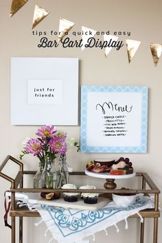 Tips for a quick and easy bar cart display! via confetti sunshine. I Party, Party Ideas, Easy Bar, Command Hooks, Meet Girls, Party Entertainment, Outdoor Entertaining, Bar Cart, Confetti