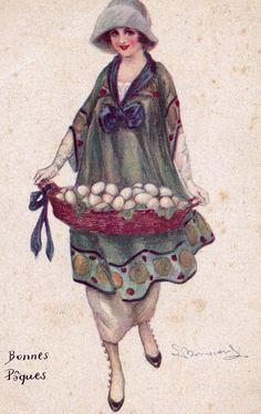 Vintage Illustration Art, Vintage Artwork, Edwardian Fashion, Edwardian Dress, Glamour Ladies, Spring Images, Female Pictures, Vintage Easter, Vintage Ladies