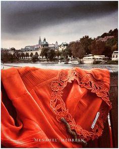 #FashionPostcardSeries ~ Karachi to Prague 1/2,  #SerpentSeries new arrival, in #orangeandgold  #menahelandmehreen #RTW #handcrafted #snake #serpent #fashion #postcard #pakistanifashion #travelogue #traveldiaries #madeinpakistan  #karachitoprague #praha #praguecastle #