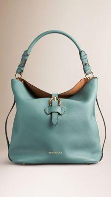 Medium Buckle Detail Leather Hobo Bag