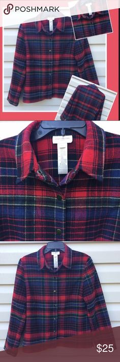 Flannel Shirt Jacket by Jones of New York sz M A Red, Blue and Green Flannel Shirt or Jacket. Long sleeves and Snaps down the front and wrists. Is even around the bottom to give the shorter Jacket look. More dressy than most flannels. Excellent Condition.❤️ Jones of New York Jackets & Coats Blazers