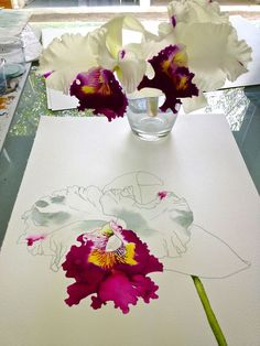 Orchid Blind Contour Sketch - Well done!! From someone who teaches students how to do blind contour drawing. This artist has a fantastic eye.