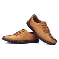 8e15efa11bb Men British Style Retro Stiching Soft Sole Lace Up Flat Cap-toe Casual Shoes  Cap