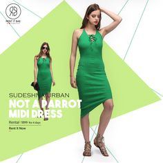 Rent the Sudeshna Urban green dress for the weekend and look uber stylish only at RENT IT BAE. Order now, Friday is here guys!  https://www.rentitbae.com/home/pdp/not-a-parrot-midi-dress-sudeshna-urban-parrot-green-rib_1740  #RENTITBAE #rent #westerndress #designerwear #glamup #couture #instagram #instagood #instadaily #ootd #instalove #stylegram #fashioninspo #womenswear  #ootdwomen #womenfashion #womenstyle #dagphoto #fashionstyle