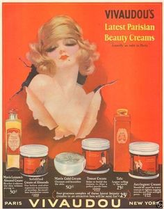 Vintage 1920's Fabulous Vivaudou Mavis Beauty Glamour Woman French Sexy Art Ad | eBay Vintage Glam, Vintage Beauty, Vintage Ads, Vintage Images, Vintage Makeup, Art Illustration Vintage, Beauty Cream, Paris Art, Vintage Ephemera