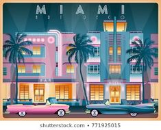 Evening on Ocean Drive in Miami, USA. All buildings - customizable different objects. Miami Art Deco, Art Deco Bedroom, Art Deco Illustration, Art Deco Posters, Vintage Travel Posters, Art Deco Design, Funny Art, Art Deco Fashion, Stock Illustrations