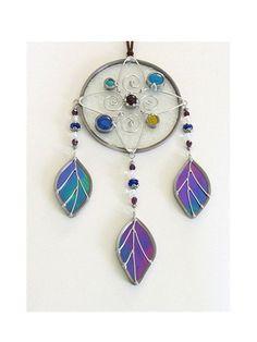 Stained Glass Dream Catcher Suncatcher Beaded by JasGlassArt, $62.00