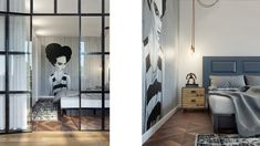 Bedroom, industrial. Desiged by INT2architecture ©