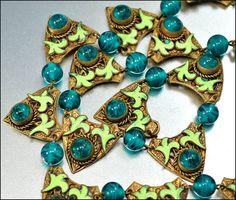 Enamel Czech Glass Art Deco Necklace Gold GIlt Egyptian Art Deco Jewelry Vintage 1920s Green