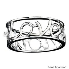 """$39.99 Words """"Love"""" and """"Amour"""" on band. Genuine diamond accent.  STERLING SILVER is the standard for fine silver jewelry in the world over. Only Sterling Silver can be stamped with a """"fineness mark"""" of .925 indicating its high quality."""