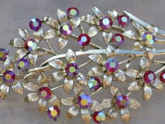 CORO Red Aurora Borealis Floral Brooch/Pin by delightfullyvintage, $16.00