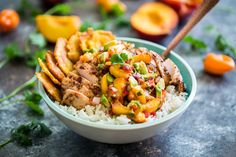 Caribbean Jerk Chicken Bowls with Peach Avocado Salsa
