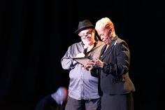 Ted Cohen and Emilie Duncan, wife of Cleveland Duncan of The Penguins accepting the Penguins induction into the Doo Wop Music Hall of Fame.