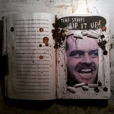 Jack Torrance wrecking the #@%*½ out of the Overlook Hotel!!! -my inspiration for this page! ‪#‎wreckthisjournal‬ TEAR STRIPS, RIP IT UP! wreck this journal page by sari rakovic.