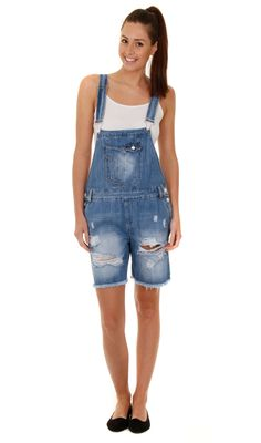 6b1c5b38ac0 Relaxed Fit Bib Overall Shorts Destroyed Denim Blue Summer Shortalls (Sh10) Ladies  Dungarees