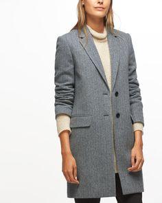Herringbone Wool City Coat