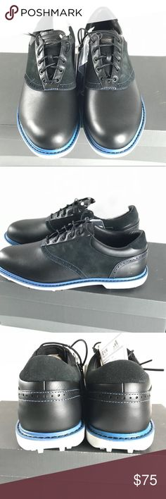 Ashworth Leucadia Tour men's golf shoes sz 9 NWTB Brand new in the box. Sample shoes used for presentation.  Leather, suede. Waterproof. Black / classic blue , ash colored. Extra pair of blue laces.  Sz 9 US  UK 8.5 Ashworth Shoes Athletic Shoes