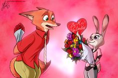 Zootopia News Network: Art of the Day #88- Happy WildeHopps Valentines! (...