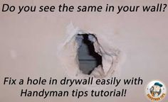 BEST TUTORIAL FOR FIXING A HOLE IN DRYWALL! http://www.handymantips.org/how-to-fix-a-hole-in-drywall/ #diy