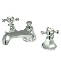 Kingston Brass Metropolitan Chrome 2-Handle Widespread Bathroom Faucet (Drain Included)