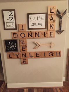 Scrabble tiles - collage wall