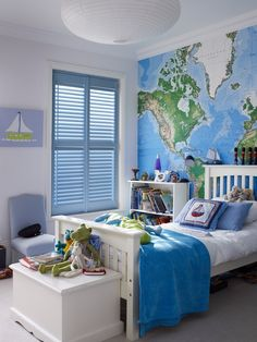 Add wanderlust into your room with giant map wall mural. Use white and blue throughout the rest of the room to bring the theme together. Made to measure blue shutters would look brilliant with this look. Great for a living room or bedroom.