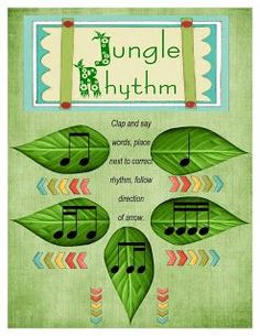 Jungle Leaf Rhythm page to work on sixteenth, sixteenth eighth patterns.  Word cards included... free download!