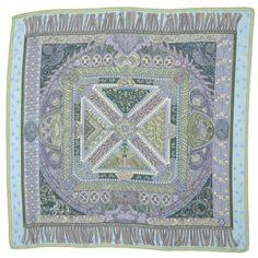 """Hermes Blue Sur Un Tapis Volant Cashmere & Silk 35"""" Square Scarf"""