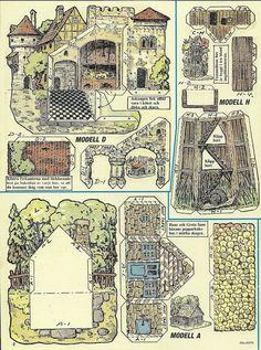 Paper Play House Cut Outs from Sweden Castle Court Farmhouse Garden Gazebo