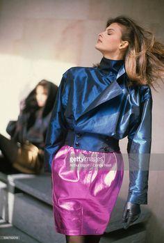 News Photo : Model Linda Evangelista wearing blouson in blue...