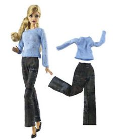 "2x//Set Black Shirt Suit for 11/""  Dolls Rose Pants Printed Kid Toys JB"