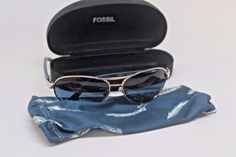 FOSSIL Marie MS3801837  60-13-130 AVIATOR Sunglasses Gold Frame/ Blue Lens #Fossil #Pilot