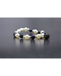 DIY Pearls Beaded with Blue sand stone Stretch Bracelet