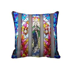 Figures in Stained Glass Window Pillow by elenaind