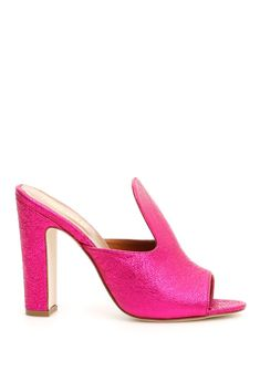 Paris Texas laminated leather mules with crackled effect. Color: FUXIA Heel Height: 11 cm Original Box Brand New and Authentic In Stock Ready to Ship Made in Italia Leather Mules, Pink Leather, Open Toe Mules, Paris Texas, Block Heels, Luxury Fashion, Slip On, Pumps, Shoes