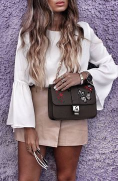 #fall #outfits · Sheer Blouse // Pink Skirt