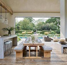 Diy Outdoor Kitchen, Indoor Outdoor Living, Outdoor Spaces, Outdoor Decor, Elle Decor, Custom Home Builders, Custom Homes, Open Plan Living, Pool Houses