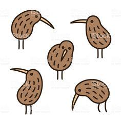 kiwi birds doodle set royalty-free stock vector art