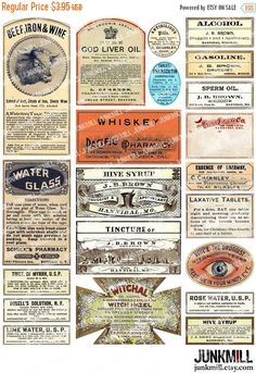 55% OFF SALE APOTHECARY Digital Printable Collage door JUNKMILL