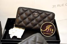 """กระเป๋าเงิน Chanel Zippy Wallet Black Cavair (Logo เดิม Size 6"""" ขนาดกลาง) ของใหม่พร้อมส่ง!! - Iris Shop"""