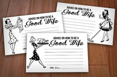RETRO HOUSEWIFE 4X6 Advice Cards for Bridal by PrintasticDesign, $5.00