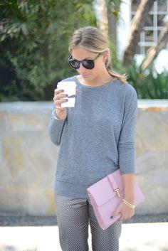Casually Polished in grey & pink: J.Crew Café Capri pants in pinwheel foulard, Balenciaga clutch #StreetStyle