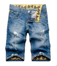 Men's Denim Shorts w/Printed, Foldable Inner Portion
