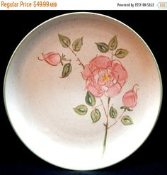 ON SALE Metlox CALIFORNIA Rose Lot of 4 Dinner Plates Dinnerware PoppyTrail Mid Century Modern Pink Flowers Green Leaves & Trim Excellent Co by libertyhallgirl on Etsy $39.99 for all 4 plates