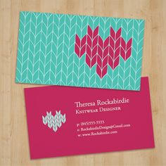 Versatile business card for textile artists, yarn shop owners and knitters!  #graphicdesign #knit #craft #businesscard